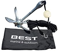 BEST Kayak Anchor for Canoes, Floats, Jet Skis & Small Boats - 3.5lbs Galvanized Iron - Anchors Include a 40 FT Marine Rope, Buoy Ball and a Stainless Steel Hook - Great for Fishing & the Yak Angler