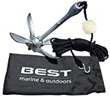 BEST Kayak Anchor for Canoes, Jet Skis, Dinghy, SUP, Paddle Board & Small Boats – 3.5lbs Galvanized Iron - Anchors Include a 40 FT Marine Rope, Buoy Ball & Stainless Steel Hook - Yak Angler Fishing