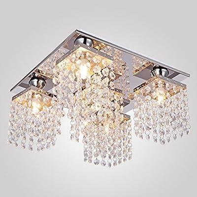 Lightess Crystal Chandelier Ceiling Light Fixture Modern Flush Mount Pendant Hanging Lighting 5 Lights