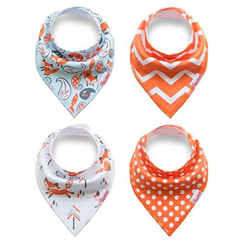 Kolamom Bandana Drool Baby Bibs 4 Pack Absorbent 100% Cotton Bib Baby Gift for Girls Orange Set