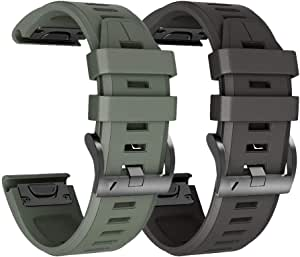 ANCOOL Compatible with Garmin Fenix 3 Silicone Band Soft Silicone Watch Bands Replacement for Fenix 3hr/Fenix 5X/Fenix 5X Plus Smartwatches, Pack of 2(Black,Olive Green)