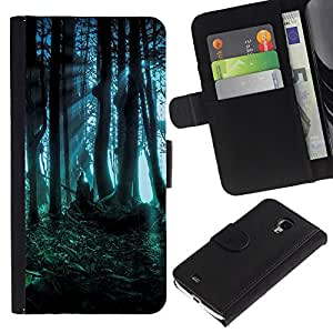 Planetar® Modelo colorido cuero carpeta tirón caso cubierta piel Holster Funda protección Para Samsung Galaxy S4 Mini i9190 (NOT S4) (NOT S4) ( Dark Forest Fairy misteriosa naturaleza Verano )