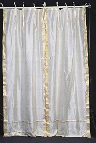 Indian Selections Lined-Cream Tie Top Sheer Sari Curtain/Drape/Panel