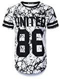 URBANTOPS Mens Hipster Hip Hop United 86 Varsity Longline T-Shirt White, L
