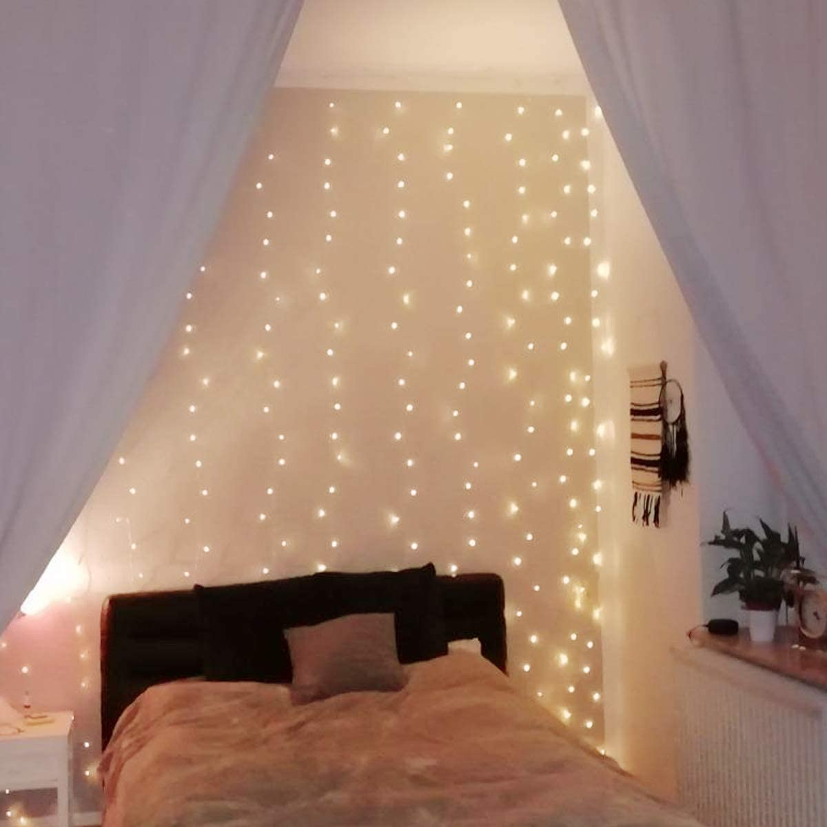 Le Led Curtain Lights With Remote And Hooks 3m X 3m Plug In Fairy Lights 8 Modes Timer 300 Led Warm White Copper Wire Waterproof String Lights For Christmas Bedroom Gazebo Party