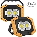 2-Pack Rechargeable Work Light COB 20W 1000LM, Waterproof LED Portable Flood Light for Outdoor Camping Hiking Emergency Car Repairing Fishing BBQ (Battery Included)