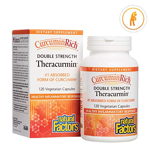CurcuminRich Double Strength Theracurmin by Natural Factors, Supports Natural Inflammatory Response, Joint and Heart Function, 120 Capsules 120 Servings