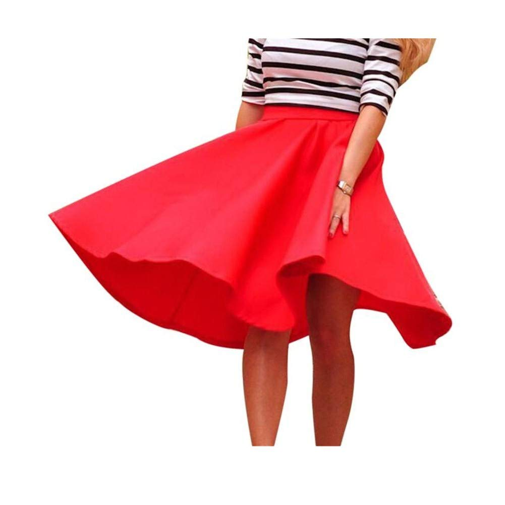 Corriee Ladies High Waist Pleated Swing Skirts Womens Stretchy Flared Casual Mini Skater Skirt