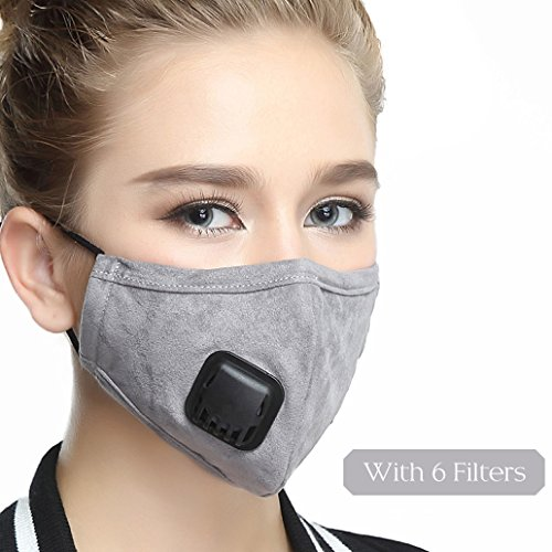 Mouth Masks With Valve Mask Washable Replaceable Filter Activated Carbon Dust Mask (One Mask + 6 Filters) Women Grey by Maxcharm