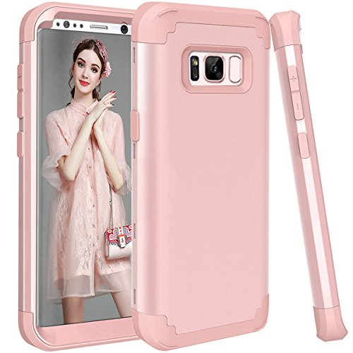 Galaxy S8 Plus Case, GPROVA Three Layer Hybrid Soft Silicone and PC Hard Case, Heavy Duty Rugged Bumper Case 360 Degree All-around Full Drop-protective for Samsung Galaxy S8 Plus (Rose Gold) ()