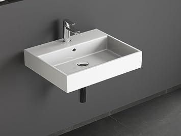 Waschbecken eckig  Aqua Bagno SOLO Design Keramik Waschbecken 60 cm weiß ...