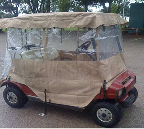Golf Cart Enclosure Rain Cover, All Weather Deluxe 4-Sided for 2 Passenger Club Car EZ Go Yamaha G Model, Tan (Deluxe 4 Sided Golf Enclosure)