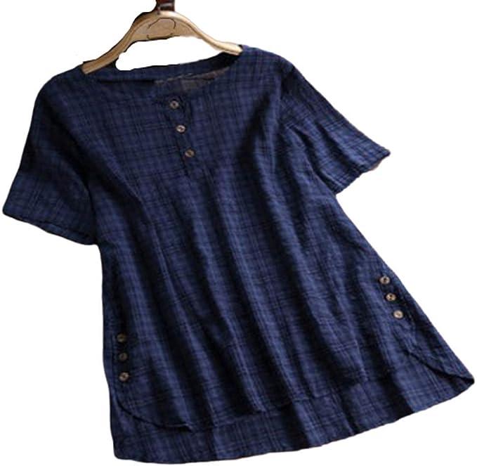 Hertsen Summer - Camiseta de Manga Corta para Mujer (algodón y ...