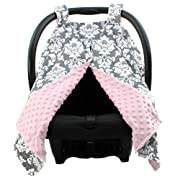 Dear Baby Gear Deluxe Car Seat Canopy Custom Minky Print Grey and White Damask Pink Minky Dot