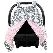 Dear Baby Gear Deluxe Car Seat Canopy Custom Minky Print Grey and White Damask Pink Minky Dot