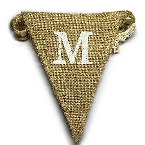 dealzEpic - MR Heart (Love) MRS Rustic Burlap Bunting Pennant Banner Garland for Wedding Decoration or New Couples Home Decor - 8pcs Triangle Banners
