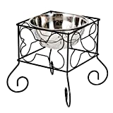 GOOD LIFE Raised Dog Bowl for Large Dog Stand Raised Pet Food Bowls Elevated Feeder Iron Stand with Single Stainless Steel Bowl PET172