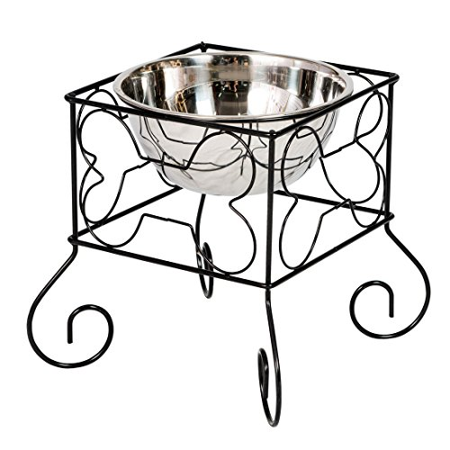 - Good Life Raised Dog Bowl for Large Dog Stand Raised Pet Food Bowls Elevated Feeder Iron Stand with Single Stainless Steel Bowl