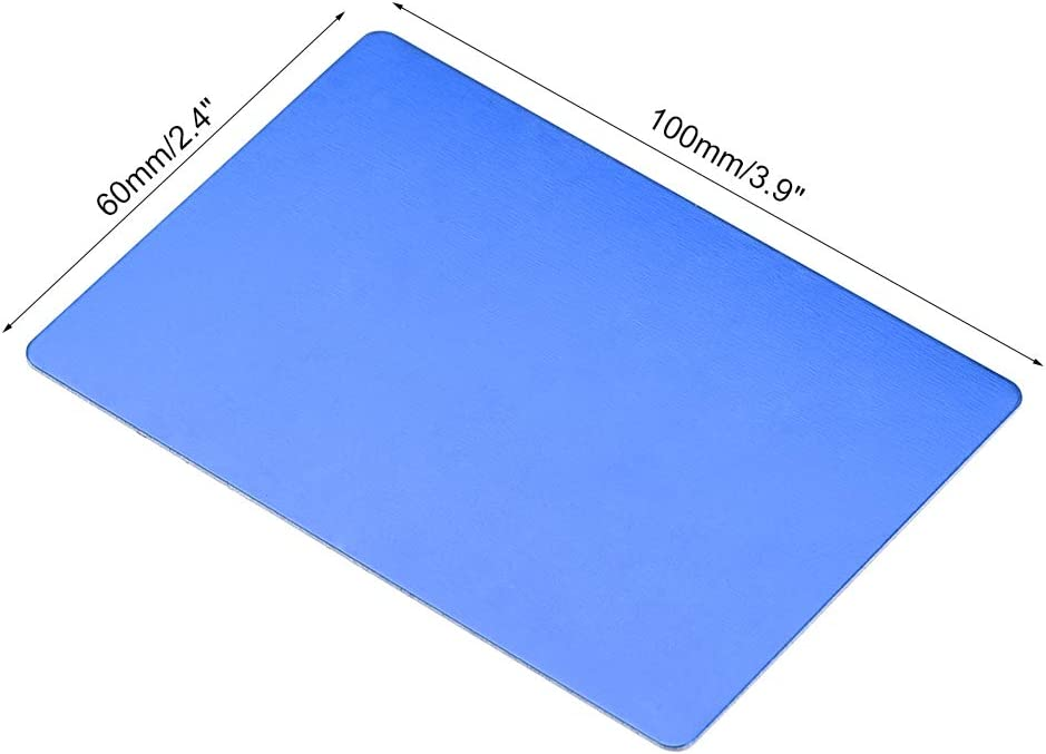 uxcell Blank Metal Business Card 66x45x0.6mm Anodized Aluminum Plate for DIY Laser Printing Engraving Blue 10 Pcs