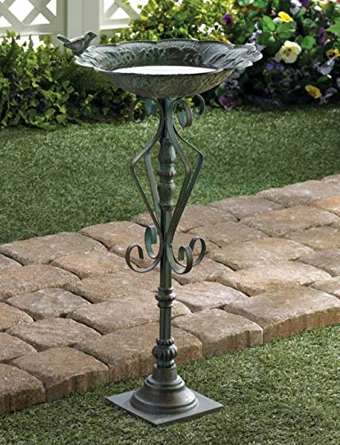 Garden Birdbath, Antique Green Cast Iron Bird Baths for Outdoors, Rustic Decorative Verdigris Metal Birdbaths, Outdoor Yard Wild Bird Bath Bowls, Gardener Ornithology Gifts for Men Women