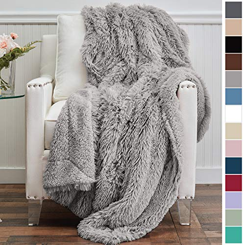 The Connecticut Home Company Luxury Shag Bed Throw Blanket, King Size, 108x90, Super Soft, Large Wrinkle Resistant Reversible Blankets, Warm Hypoallergenic Washable Throws for Beds, Silver
