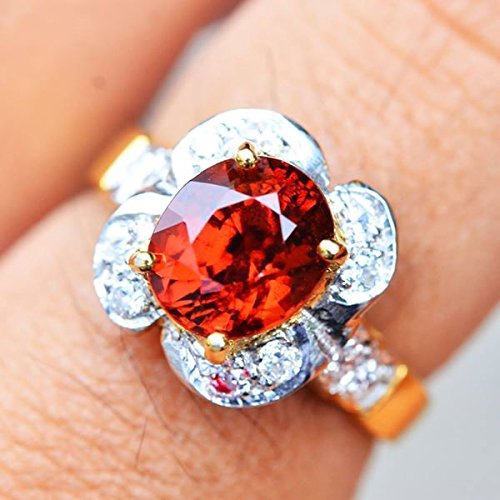 18.64ct Natural Oval Orange Hessonite Garnet 925 Gold Silver Ring 7US #R by Lovemom (Image #2)