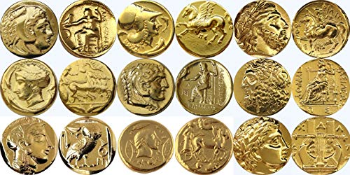 Golden Artifacts Alexander, Athena, Zeus, Arethusa,and Apollo 9 Greek Coins, Collectible Coin Sets, Greek Mythology (9SET-G)