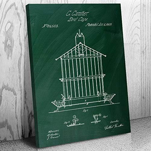 (Patent Earth Bird Cage Canvas Print, Bird Keeper Gift, Aviculture, Antique Birdcage, Animal Lover, Zookeeper, Exotic Bird, Parrots Chalkboard (Green) (18