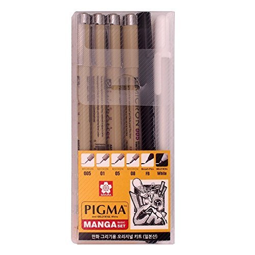 Pigma Graphic Line Pen - Pm0606 Sakura Pigma Manga Basic Set (005, 01, 05, 08, FB, White)