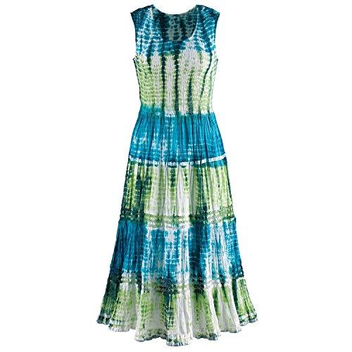 (CATALOG CLASSICS Sleeveless Sundress - Tie-Dye Ribbon Tiered Tea-Length Long Dress - 48