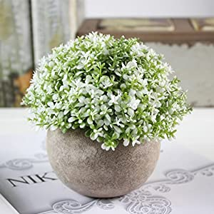 Pueri Fake Plant Mini Plastic Artificial Faux Greenery Decorative Flower Green Potted Plants for House Decorations 48