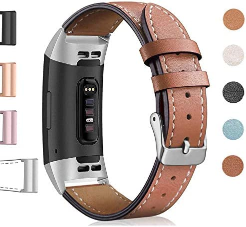 Hotodeal Leather Band Compatible Charge 3, Classic Replacement Genuine Leather Bands Metal Connectors Women Men Small Large Size Silver, Rose Gold, Black 1
