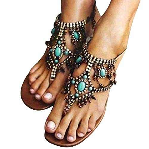 Photno Casual Bohemian National Wind Comfortable Beaded Pin Flat Sexy Women's Sandals Blue