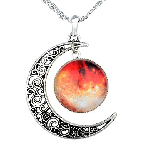 smic Orange Moon Pendant Necklace, Blue Glass, 17.5'' Chain, Great Gift for Women (Cute Button Necklace)