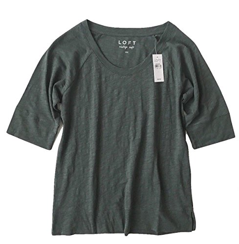 Ann Taylor Loft Womens   Vintage Soft Elbow Sleeve Banded Tee  Medium  Dusty Green