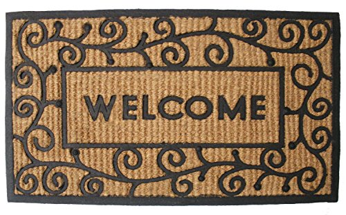 Rectangle Welcome Mat - J&M Home Fashions Natural Coir Tuffridge Rubber Non-Slip Half Round Doormat, 18x30