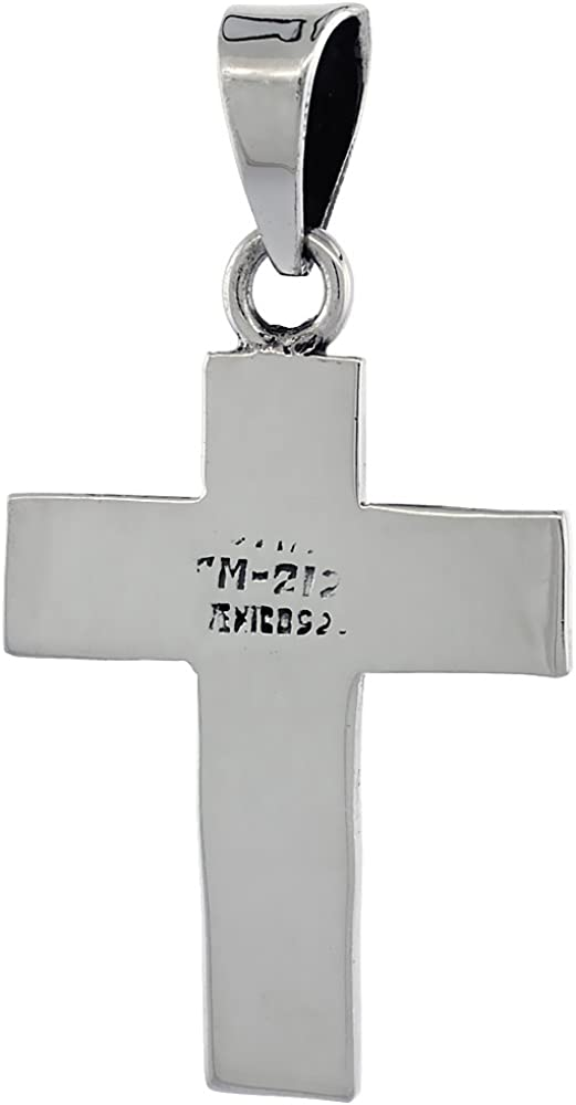 Sterling Silver S-Shaped Curved Cross Necklace Solid Back Handmade 1 3//8 inch 18-30 inch 1.2mm Box/_Chain