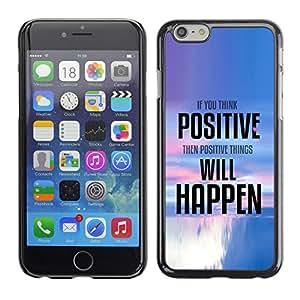 KOKO CASE / Apple Iphone 6 / cosas de pensamiento positivo ocurren cotización / Delgado Negro Plástico caso cubierta Shell Armor Funda Case Cover