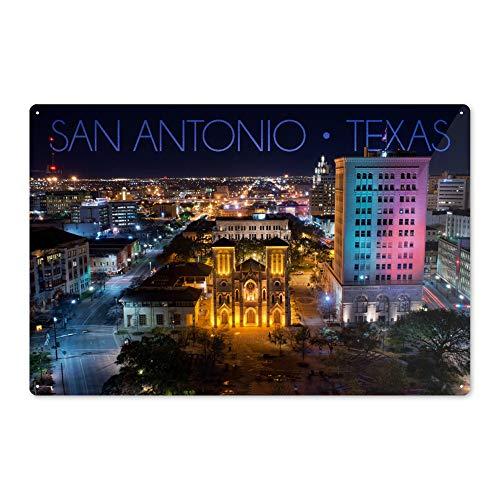 San Antonio, Texas - San Fernando Cathedral at Night 73434 (6x9 Aluminum Wall Sign, Wall Decor Ready to Hang) (Cathedral De San Fernando San Antonio Texas)