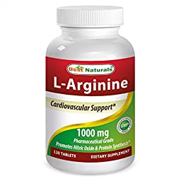 Best Naturals L-Arginine 1000 mg 120 Tablets - Pharmaceutical Grade L Arginine supplement promotes nitric oxide synthesis
