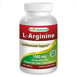 (New Improved Formula) Best Naturals L Arginine 1000 mg 120 Tablets Pharmaceutical Grade L Arginine Supplement Promotes Nitric Oxide Synthesis