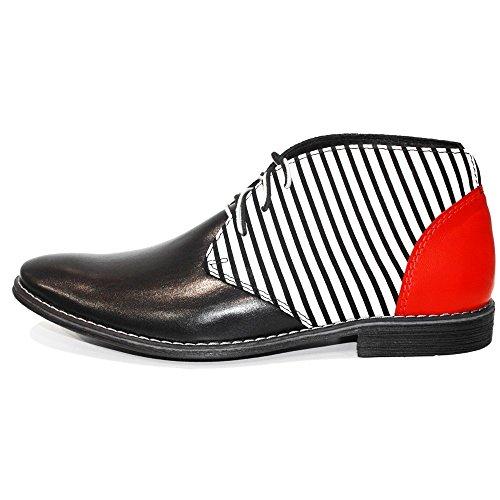 vachette strisce en hommes Chukka cheville lisse Cuir Bottes lacets à italien Modello À blanches à la cuir la main de pour de PeppeShoes HwxggP