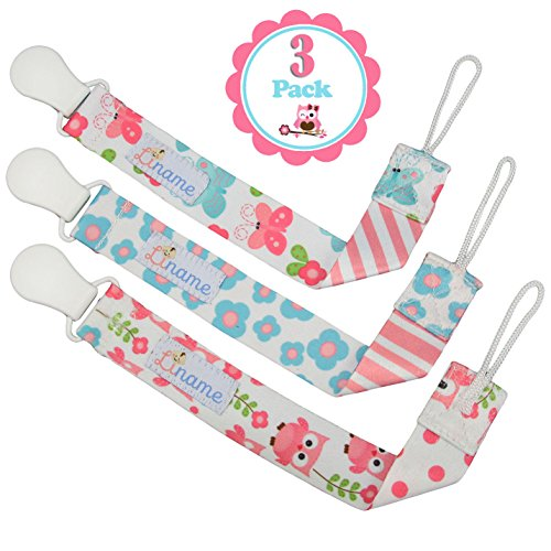 Pacifier Clip Girls by Liname - 3 Pack - Clip Pacifier