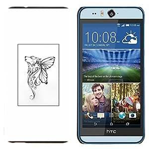 EJOOY---Cubierta de la caja de protección para la piel dura ** HTC Desire Eye M910x ** --Mariposa mítico cartel blanco del arte