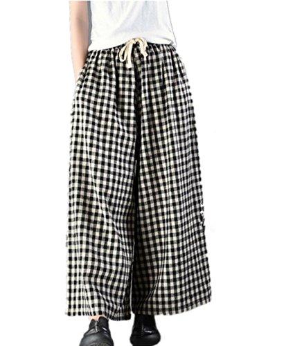 YESNO P81 Casual Cropped Pants 100% Linen Boyfriend Elastic Waist/Drawstring Plaids Checks Wide Leg