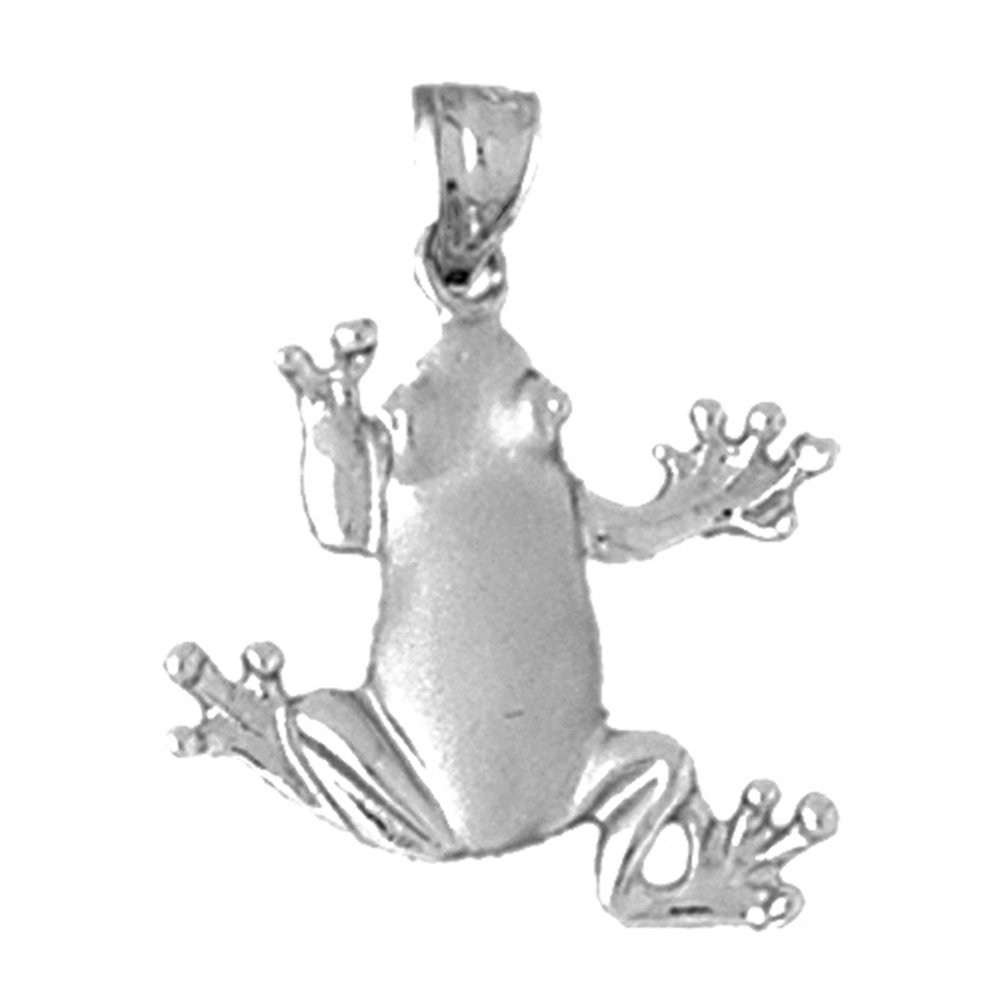 Jewels Obsession Silver Frog Necklace Rhodium-plated 925 Silver Frog Pendant with 18 Necklace