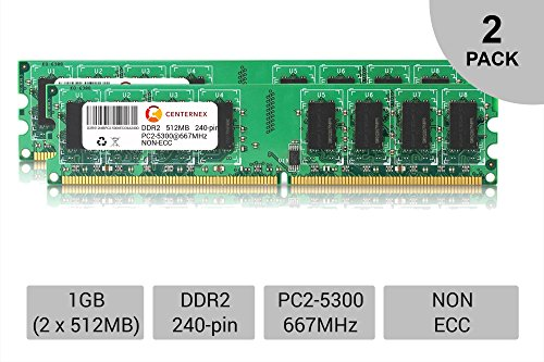1GB KIT 2 x 512MB DIMM DDR2 NON-ECC PC2-5300 667MHz 667 MHz DDR-2 1G Ram Memory by CENTERNEX (Pc Ddr Memory 512mb)