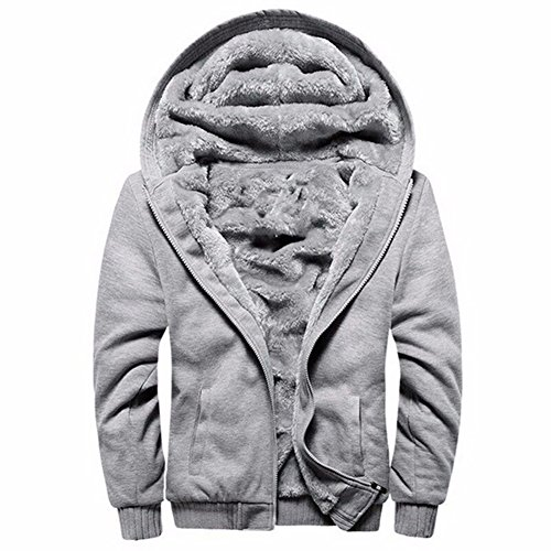 LBL Leading the Better Life ASALI Men's Pullover Winter Jackets Hooed Fleece Hoodies Wool Warm Thick Coats Gray L