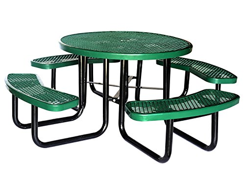 "Lifeyard 46"" Expanded Metal Mesh Commercial Round Green Picnic Table and Benches Steel Frame for Outdoor Furniture"