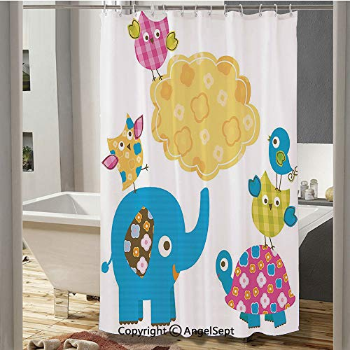 Diverse Cartoon Happy Animals Tortoise Elephant Lovely Yellow Cloud Drawing Style Decorative Polyester Waterproof Fabric Shower Curtain(72
